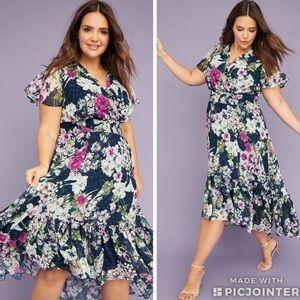 Lane Bryant V Nexk Floral Fit & Flare Maxi Dress